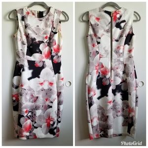 CK floral sheath dress